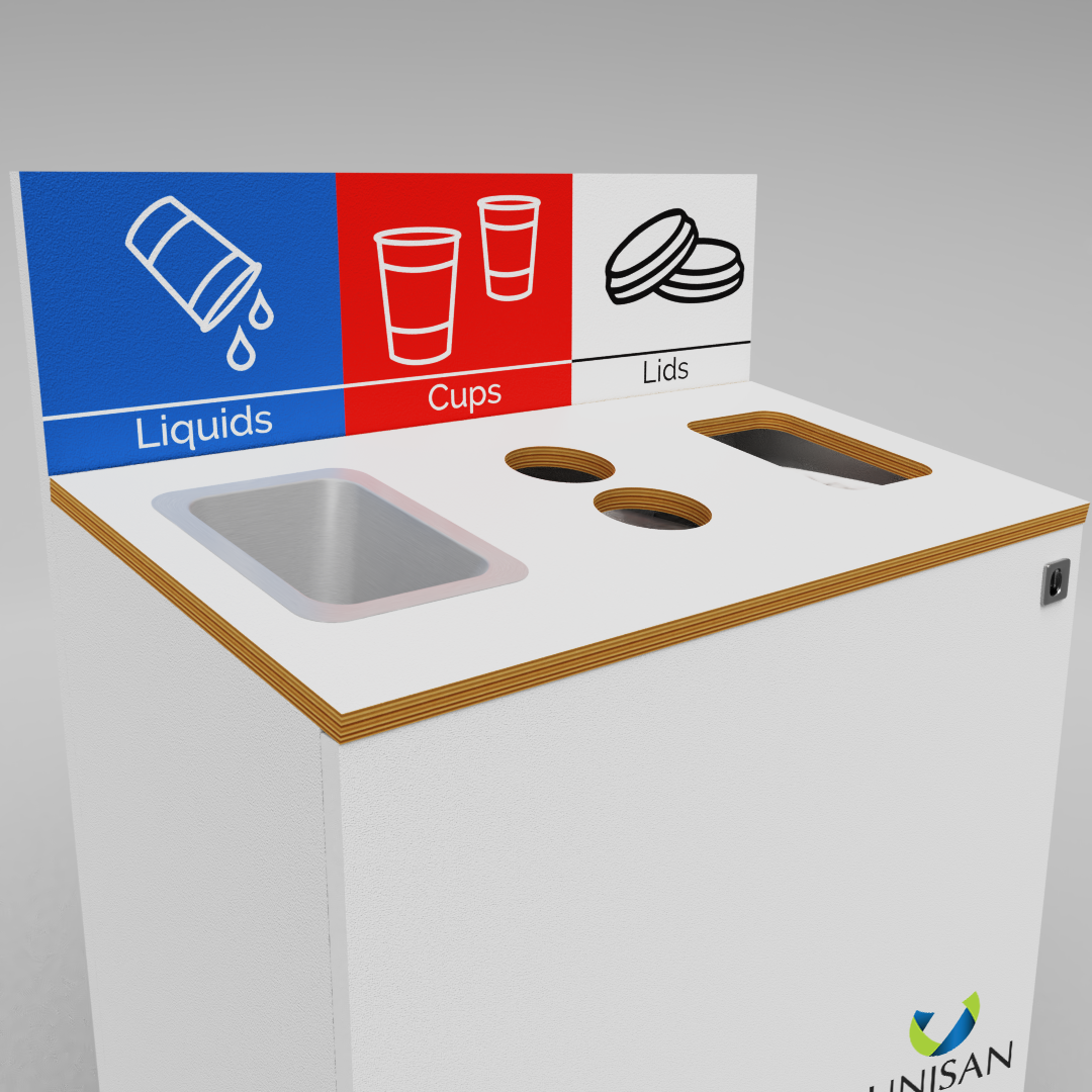 liquid lids and cups bin for coffee cup recycling