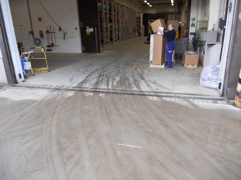 dirt dust damp and debris on factory floor