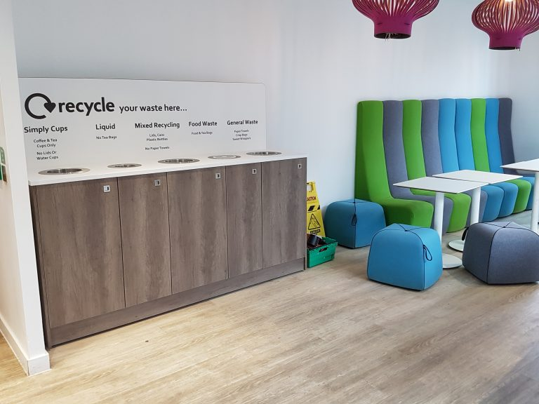 office recycling bin station installed at british gas cardiff offices