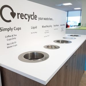 Stainless Steel Ring with Signage for Countertop Waste Chutes