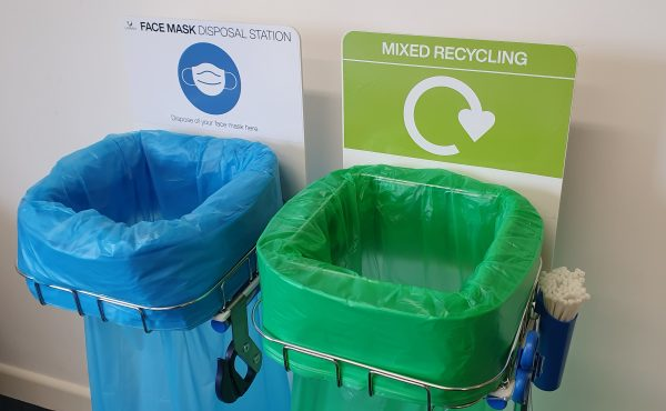 rigid sign for longopac bins with mixed recycling or ppe disposal