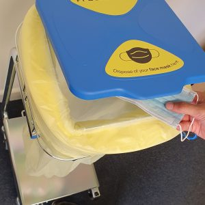 longopac contactless ppe waste bin with pedal lid
