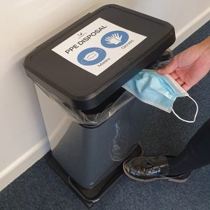 ppe disposal pedal bin for face masks and gloves