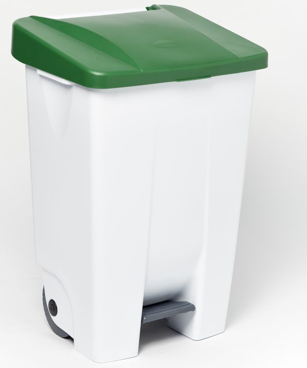 120 litre plastic foot pedal bin large and durable with green lid