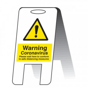 warning coronavirus please wait here social distancing a frame safety sign