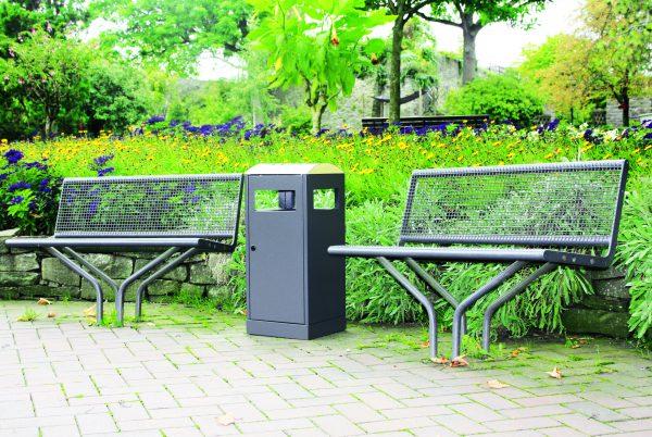 modern black weatherproof outdoor litter bin for on the go waste