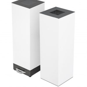 stylish white office recycling or waste bin with pedal operated lid