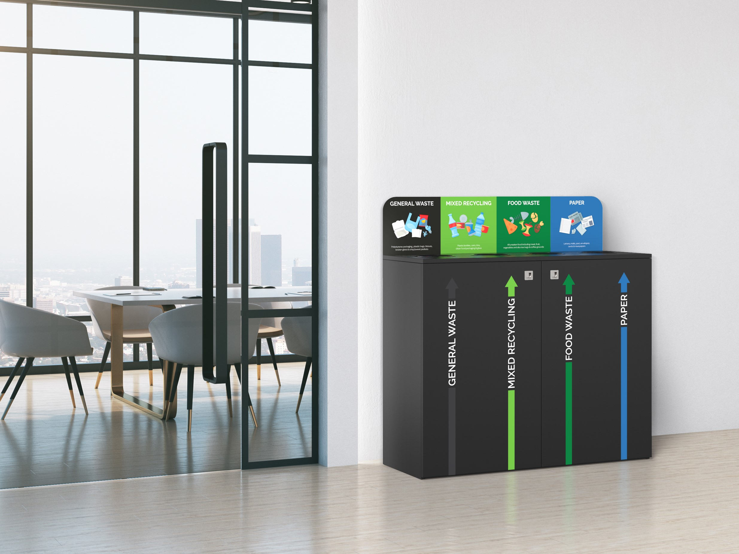 recycling bin station with colourful graphics