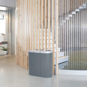 Adapt office recycling bin station great for modern reception areas