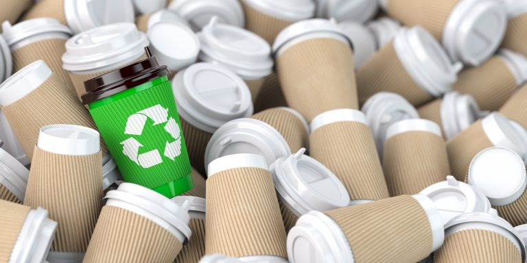 Coffee cup recycling bin