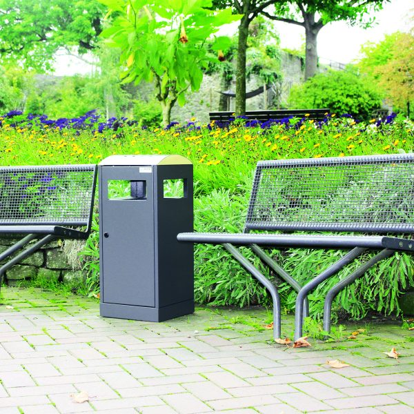 modern black weatherproof outdoor waste bin