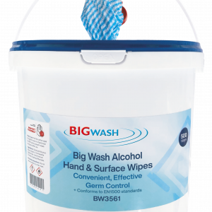 Big Wash Wipes Tub BW3561 antibacterial antiviral alcohol wipes for cleaning surfaces