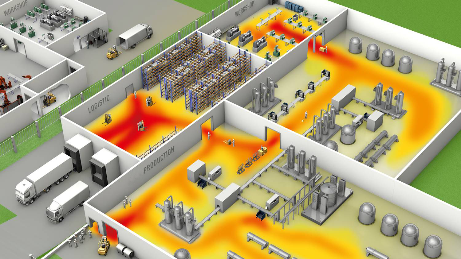 Clean Factory Heatmap where dirt dust bacteria and damp spreads on the floor