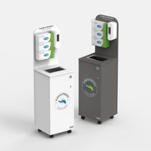 clean and protect your hands mobile hand sanitiser and disposable glove station with bin