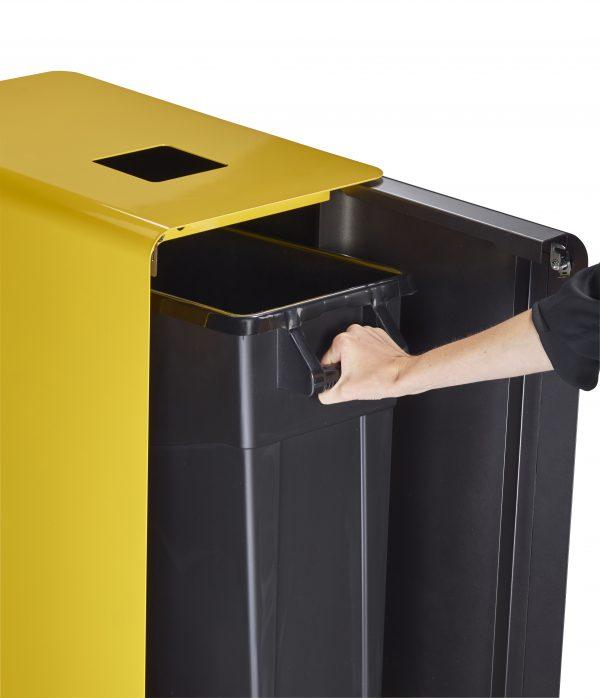 Black & yellow cube recycling bins