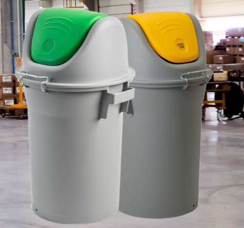 durable robust swing lid bin for warehouses and production areas