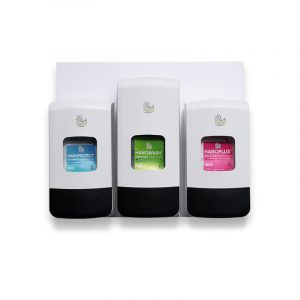 Duroline dispensers kit on a wallboard with hand protection cream and hand wash and after work cream