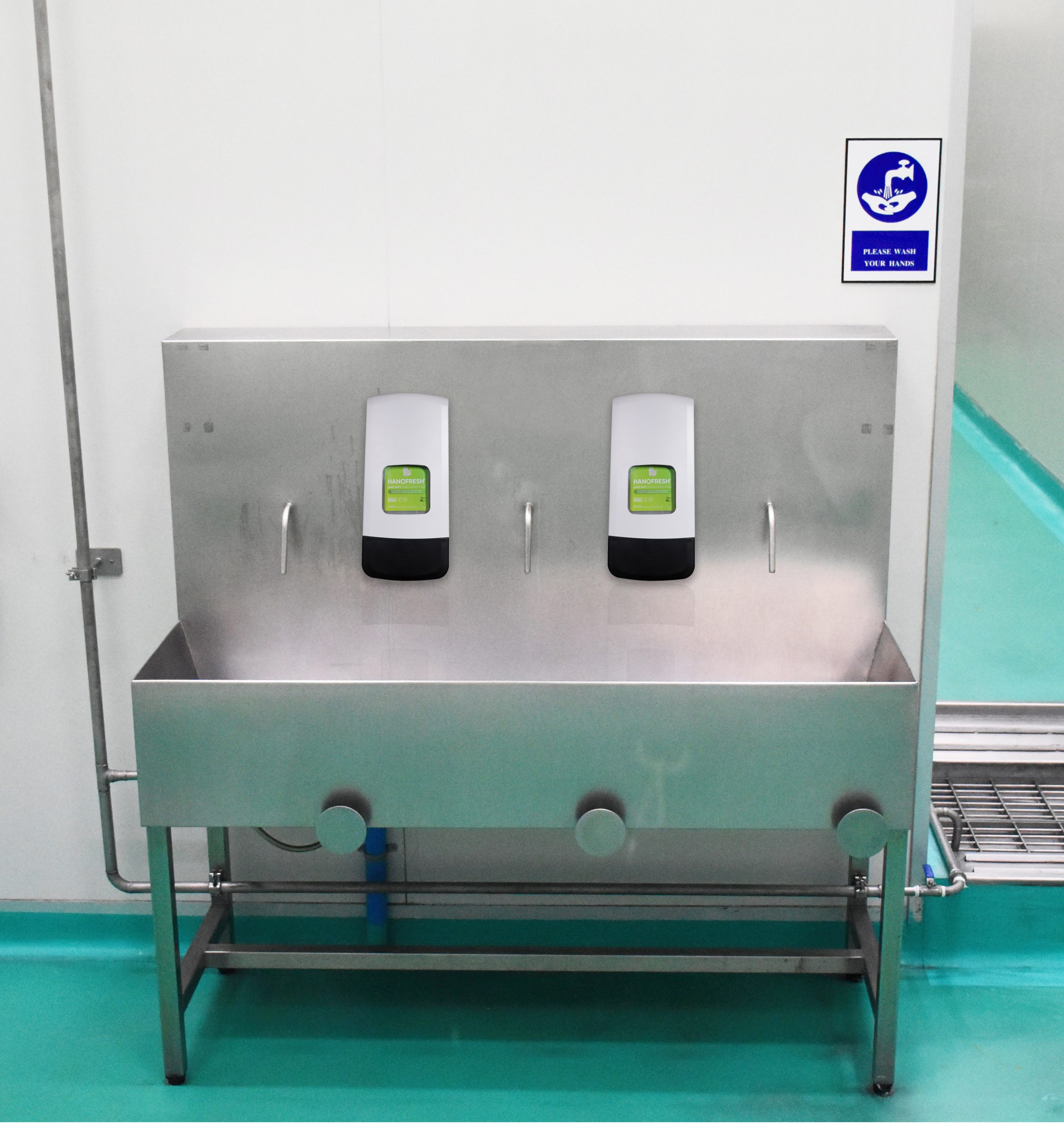 Duroline hand hygiene and hand protection cream dispenser in industrial or in Food Factory setting