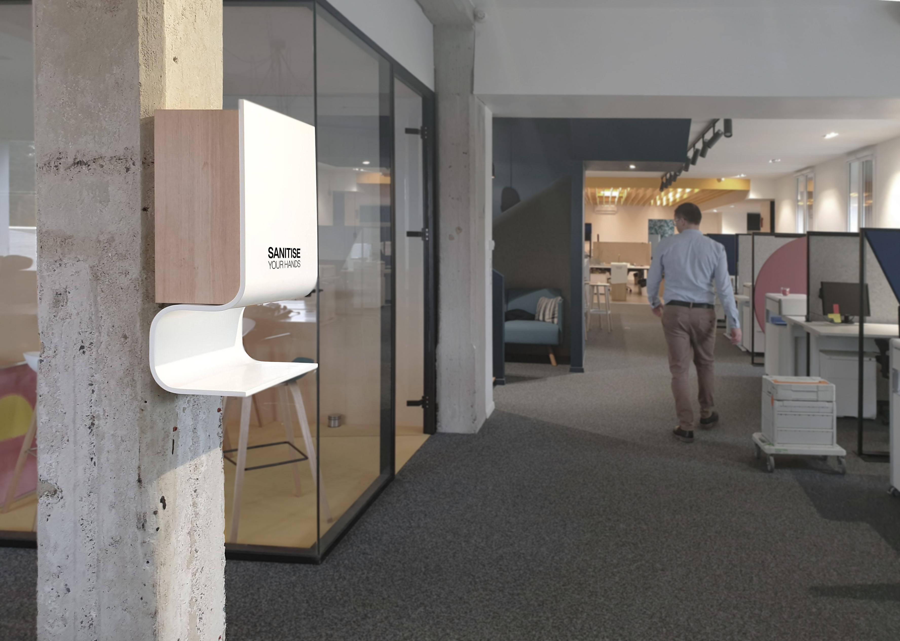 Elegance luxury wall mountable hand sanitiser gel dispenser station in light oak and white antibacterial material