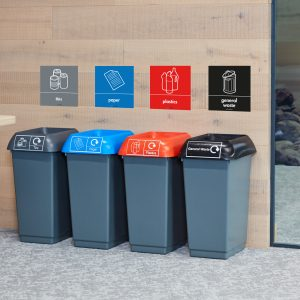 Facilo 50 litre Recycling Bins with signage for schools or offices
