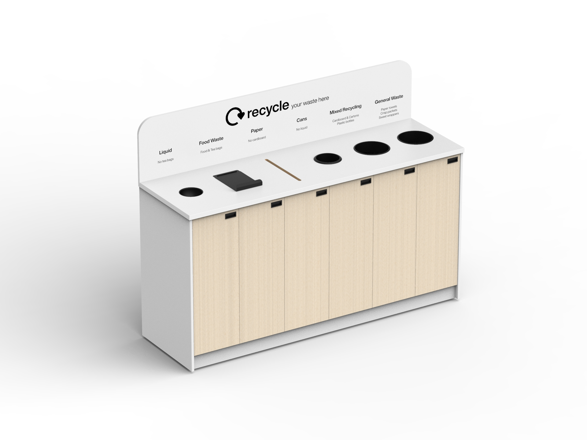 bespoke recycling station for confidential waste with secure lock