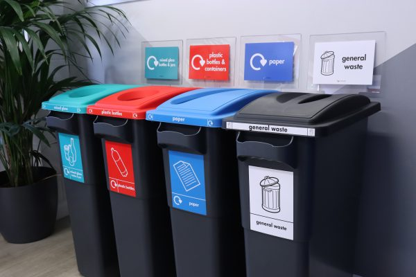 cheap modern black office recycling bins with coloured signage