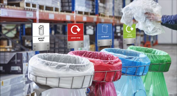 LONGOPAC warehouse recycling bins WITH SIGNS and labels