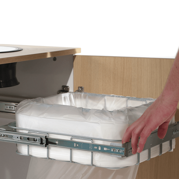 Longopac flex maxi waste and recycling bin for installing inside cabinets