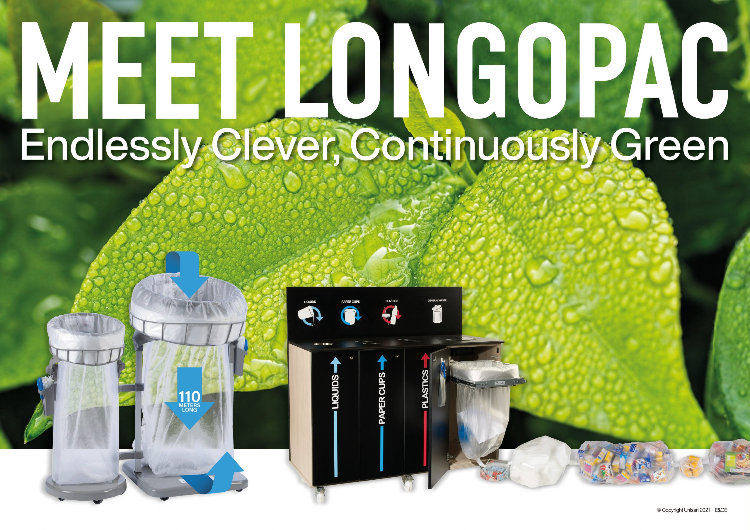Longopac continuous liner bin system to reduce plastic