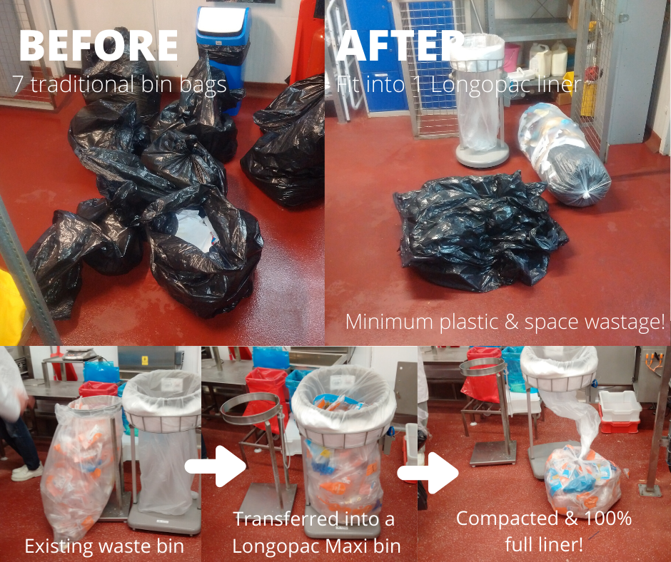 Longopac continuous bin bag and traditional bin bag comparison