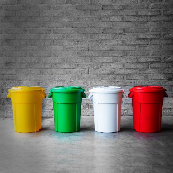 Large colourful heavy duty recycling bins by Unisan UK