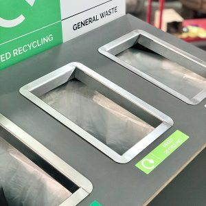 Rectangular Countertop Waste Chute metal insert