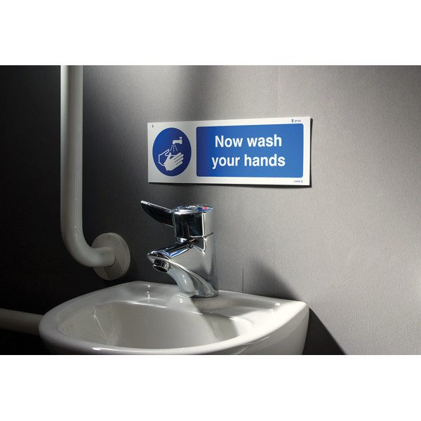 now wash your hands hygiene sign