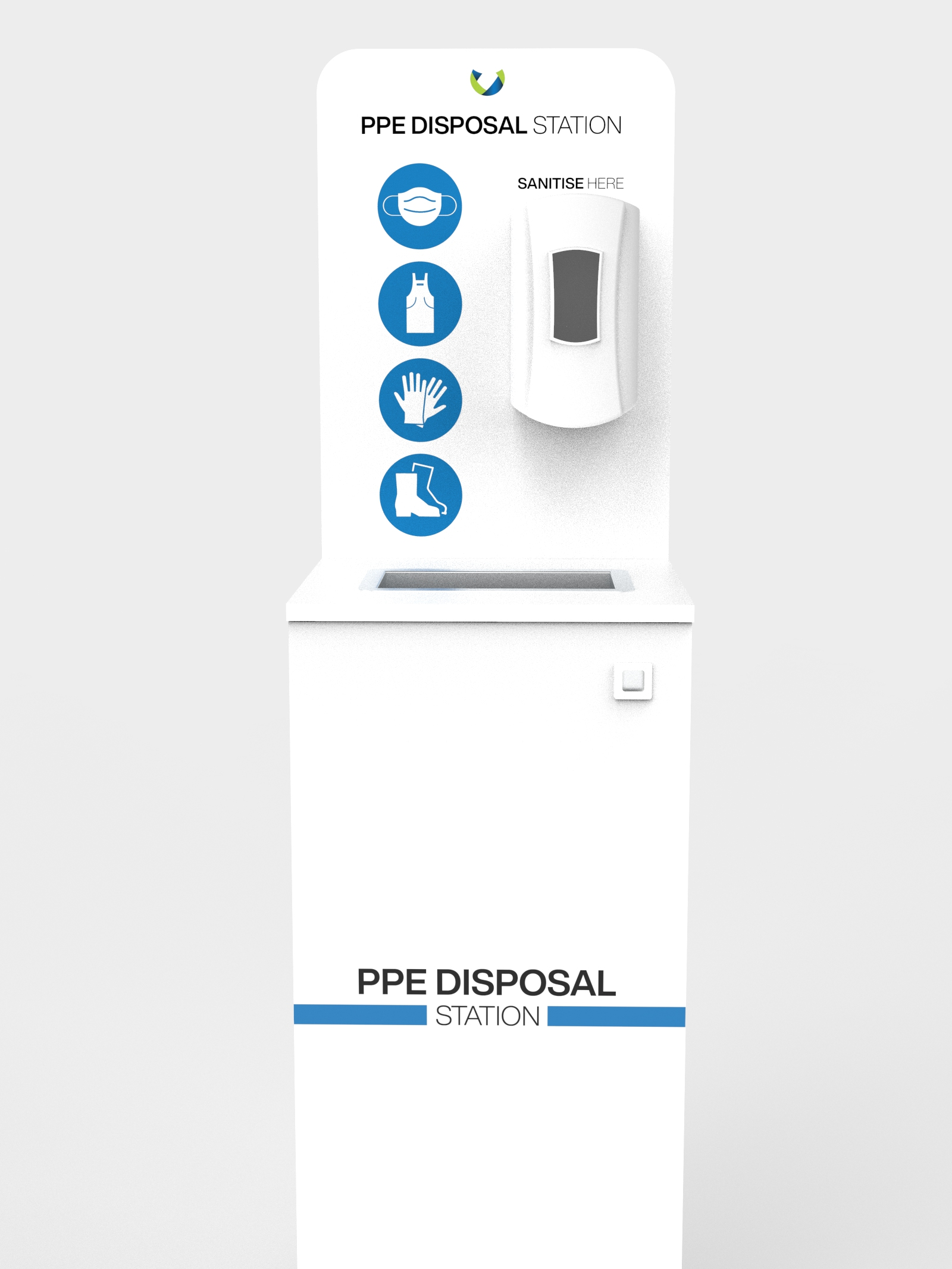 PPE Disposal Station Front With hand Sanitiser dispenser fitted