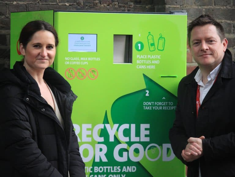 helping the general public recycle more, reverse vending machine at kings cross station