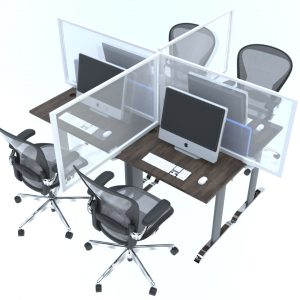 Rapid screen divider being used on office desk for social distancing at work (1)