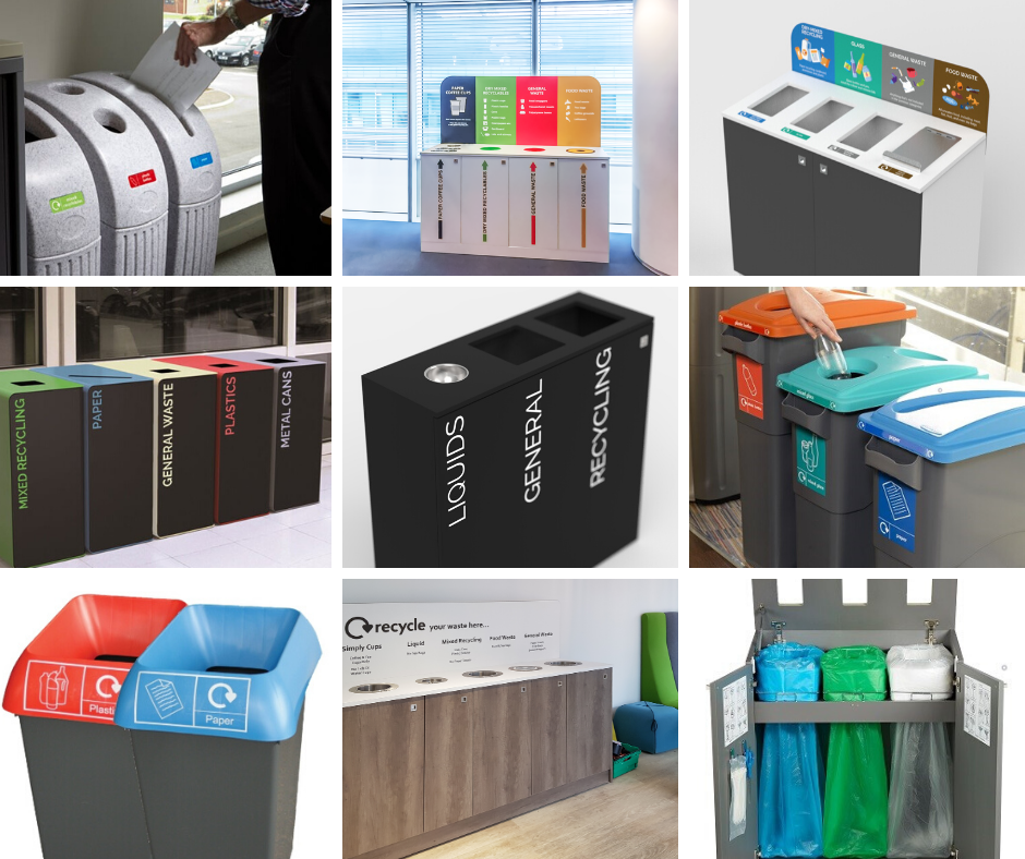 Recycling bins for offices, schools, universities, cafes, restaurants and more