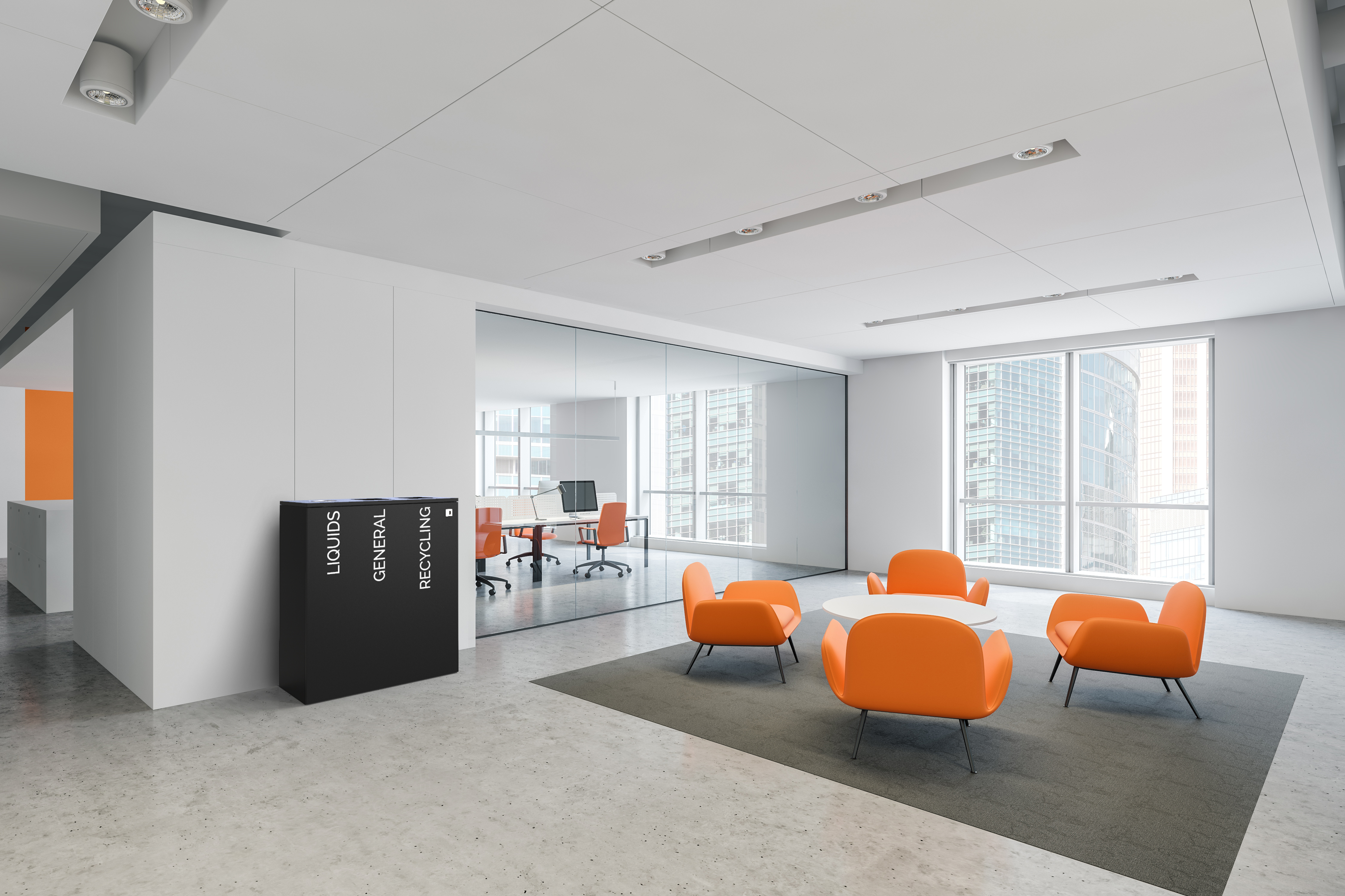 stylish and modern office recycling bins and office waste bins for office and canteen areas