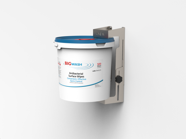 wall mounted wipe holder, stainless steel for holding tubs or buckets of sanitiser wipes