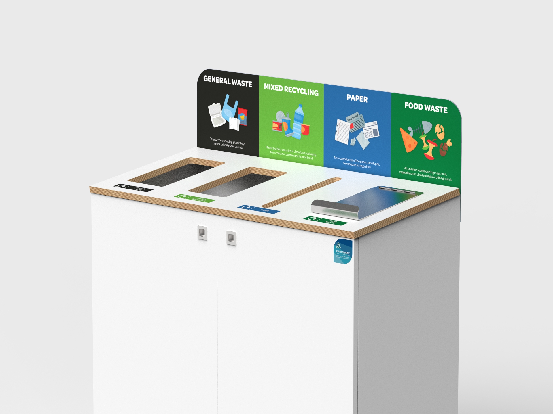 recycling station with lockable confidential waste slot