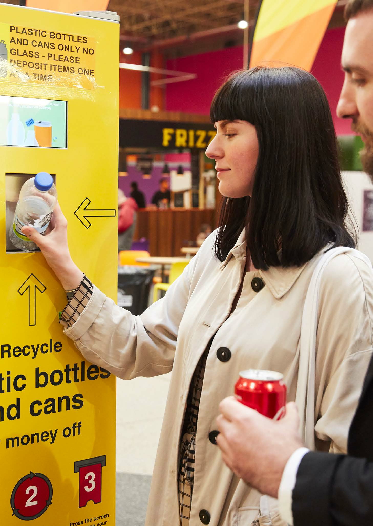 cafe crush reverse vending machine for recycling bottles, cans and coffee cups