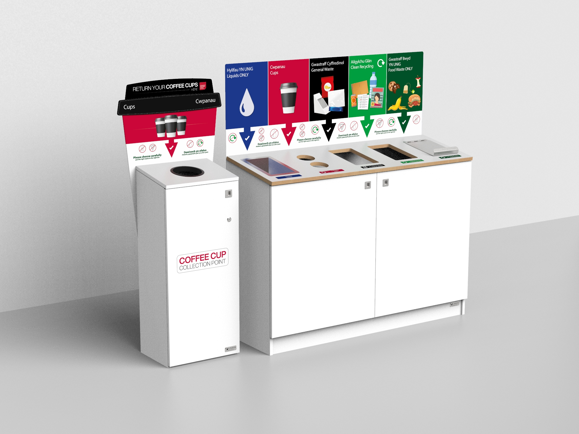 Coffee Cup bin Station and 5 compartment recycling bin station