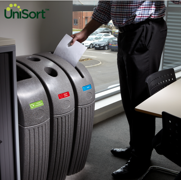 UniSort Royale 55L simple recycling bin for offices