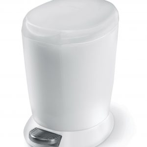 white mini pedal bin for bathrooms and kitchens 6 litre hygiene