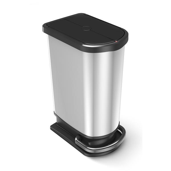 Unisort elite pedal bin in silver and black