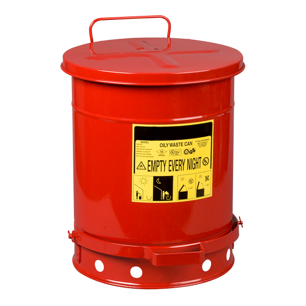 oily waste pedal bin for safe disposal of rags/cloths soaked in flammables (oil, thinners, solvents, adhesives, etc)