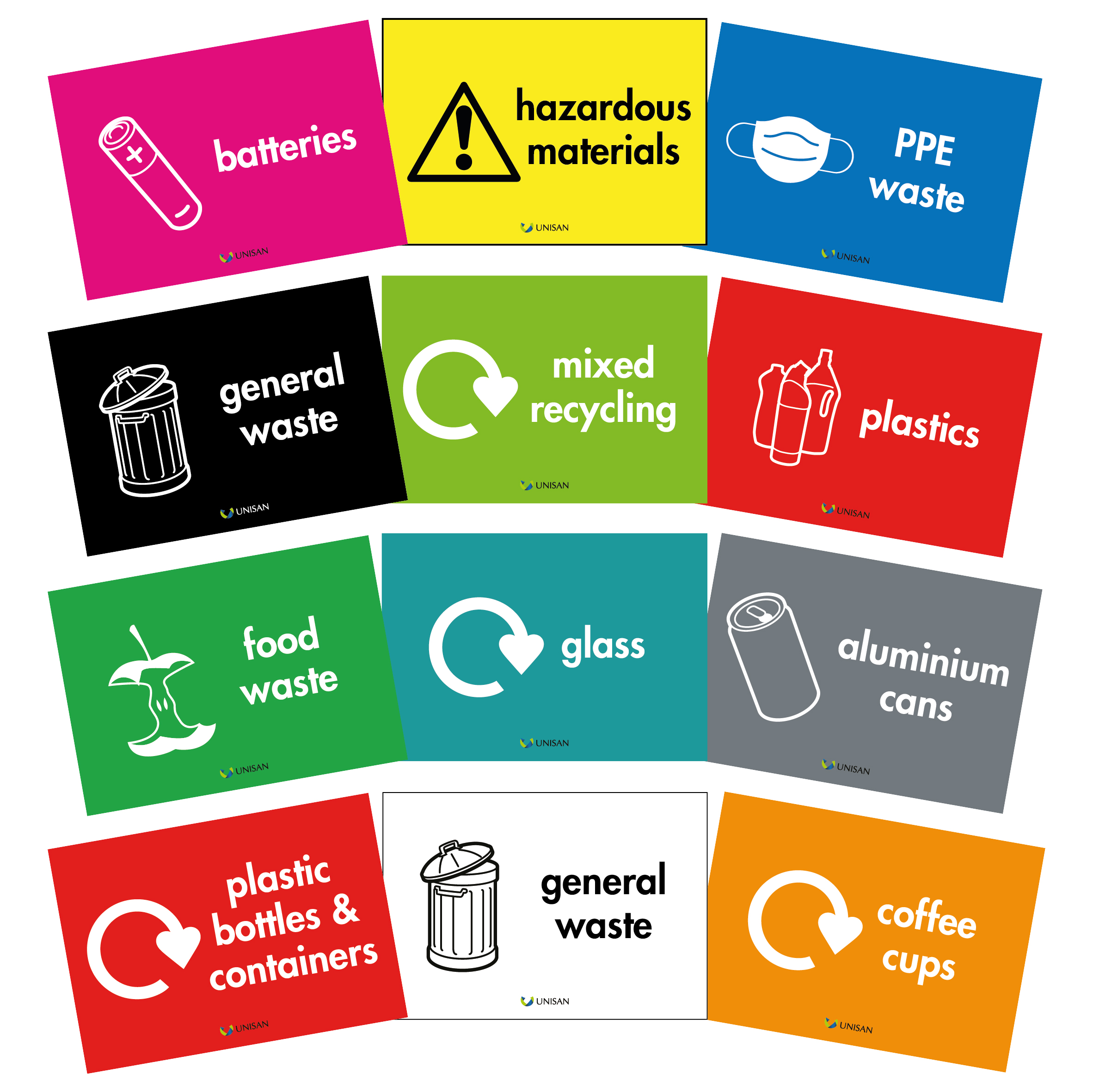recycling bin stickers range of colours and waste streams