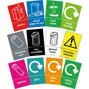 labels for recycling bins and waste bins in wrap colours and symbols