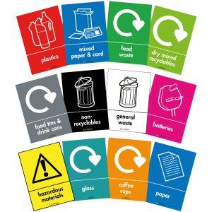 recycling bin labels 148 x 105mm self adhesive vinyl sticker
