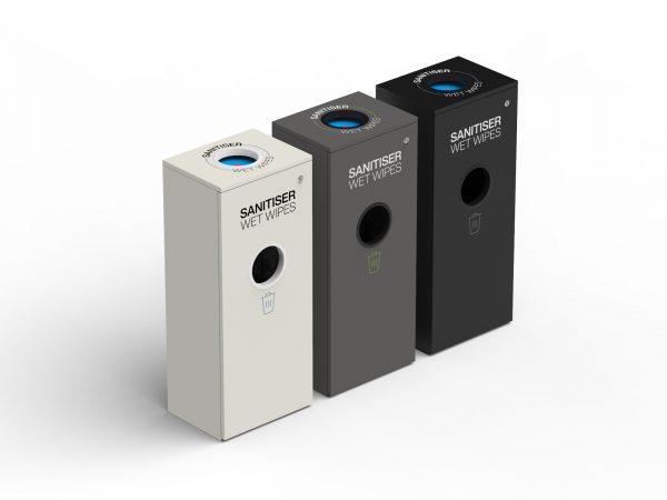 Wipes dispenser station for sanitiser wipes, available in grey black or white